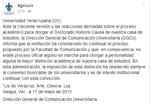 Comunicado de DGCUUV sobre cancelacion doctorado