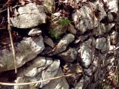 Aquí el material básico de construcción fueron bloques grandes y medianos de piedra caliza, dispuestos en tal forma, que los más pequeños sirven como cuñas anclando a los mayores. La caliza es una roca sedimentaria compuesta mayoritariamente por carbonato de calcio (CaCO3), generalmente calcita, aunque frecuentemente presenta trazas de magnesita (MgCO3) y otros carbonatos, que modifican a veces, el color y el grado de coherencia de la roca. Es menos dura que el cobre y cortada, tallada o desbastada, se utiliza como material de construcción u ornamental, en forma de sillares o placas de recubrimiento.
